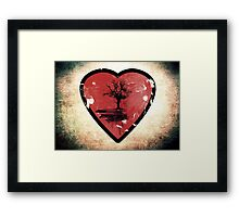 Love Nature - Grunge Tree and Heart - Earth Friendly T Shirt Framed Print