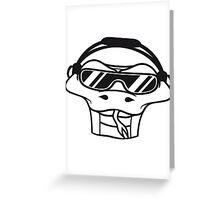face head dj club party music cool hang celebrate disco sunglasses headphones snake dance Greeting Card