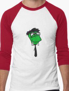 face head glasses snakes bookworm nerd geek ties hornbrille smart funny cool comic cartoon Men's Baseball ¾ T-Shirt