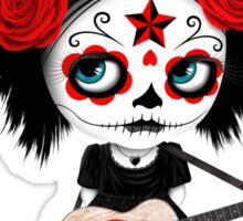 Sugar Skull Girl Playing Japanese Flag Guitar Sticker
