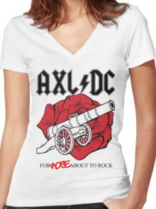 """Axl/DC """"For Rose About To Rock"""" Women's Fitted V-Neck T-Shirt"""