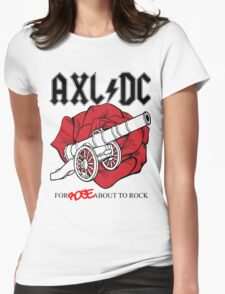 """Axl/DC """"For Rose About To Rock"""" Womens Fitted T-Shirt"""