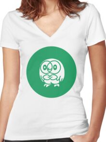 Rowlet from Pokemon Sun and Moon Women's Fitted V-Neck T-Shirt