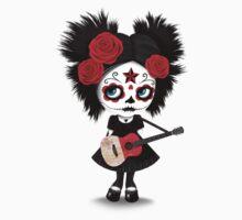 Sugar Skull Girl Playing Maltese Flag Guitar Baby Tee