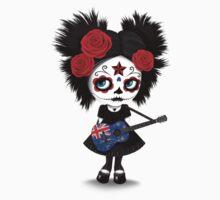 Sugar Skull Girl Playing New Zealand Flag Guitar One Piece - Short Sleeve