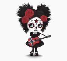 Sugar Skull Girl Playing Norwegian Flag Guitar One Piece - Short Sleeve