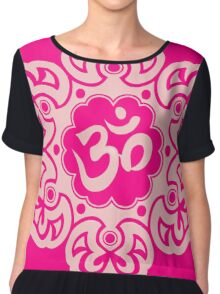 Pink Lotus Flower Yoga Om Chiffon Top