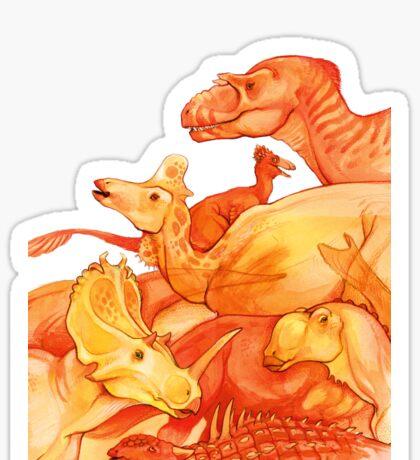 cretaceous congregation - orange & yellow dinosaurs Sticker