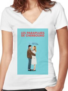 The Umbrellas of Cherbourg - Catherine Deneuve - Jacques Demy Women's Fitted V-Neck T-Shirt