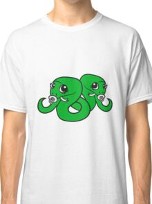 siblings, brothers, sisters, twins 2 babies, child snake pacifier sweet cute kawaii cartoon comic cute Classic T-Shirt