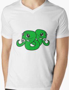siblings, brothers, sisters, twins 2 babies, child snake pacifier sweet cute kawaii cartoon comic cute Mens V-Neck T-Shirt