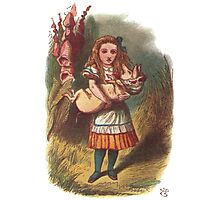 Wonderland Alice Holding a Piglet Photographic Print
