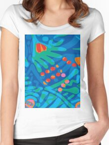 Colorful Tropical Print Abstract Art Mini Skirt in Blue and Green Women's Fitted Scoop T-Shirt