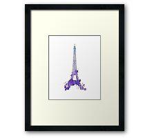 Purple Watercolor Splatter Eiffel Tower Framed Print