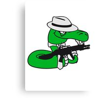gangster mafia violence weapon machine gun rattlesnake poisonous nasty bite dangerous comic cartoon snake Canvas Print