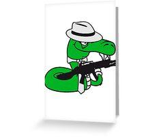 gangster mafia violence weapon machine gun rattlesnake poisonous nasty bite dangerous comic cartoon snake Greeting Card