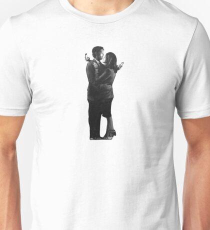 Banksy Mobile Lovers - White Unisex T-Shirt