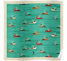Fishing Trawlers on The Thames Estuary Poster