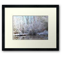 snow covered walk bridge Framed Print