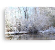 snow covered walk bridge Metal Print