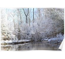 snow covered walk bridge Poster