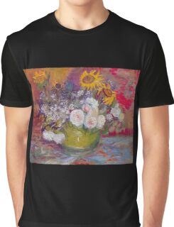 'Still Life with Roses and Sunflowers' by Vincent Van Gogh (Reproduction) Graphic T-Shirt