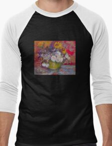 'Still Life with Roses and Sunflowers' by Vincent Van Gogh (Reproduction) Men's Baseball ¾ T-Shirt