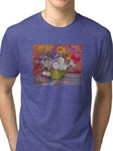 'Still Life with Roses and Sunflowers' by Vincent Van Gogh (Reproduction) Tri-blend T-Shirt