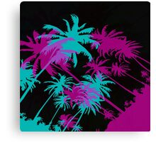 California at Night - Palm Trees  Canvas Print