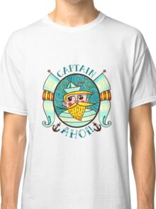 Seaman Illustration with a lighthouse in the style of an old tattoo.  Classic T-Shirt