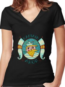 Seaman Illustration with a lighthouse in the style of an old tattoo.  Women's Fitted V-Neck T-Shirt