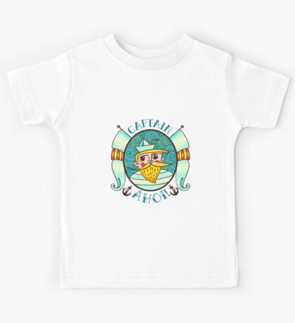 Seaman Illustration with a lighthouse in the style of an old tattoo.  Kids Tee
