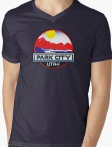 Park City Utah Mountains River Skiing Sun Mens V-Neck T-Shirt
