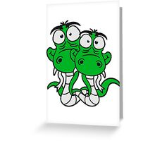 friends team papa child son family couple cartoon comic funny humorous 2 snakes cool Greeting Card