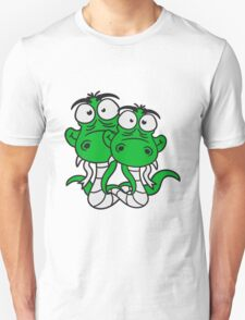 friends team papa child son family couple cartoon comic funny humorous 2 snakes cool Unisex T-Shirt