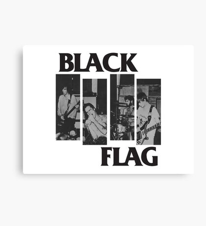 BLACK FLAG - 4 Bar Logo Live Band Montage Canvas Print