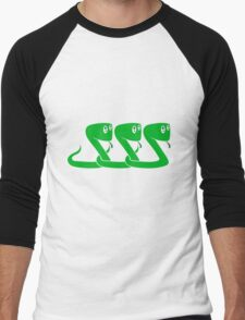 friends team crew party funny child 3 small cute sweet baby snake Men's Baseball ¾ T-Shirt