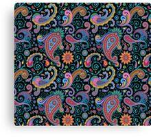 Pastel Blue Tones Vintage Orante Floral Paisley Pattern Canvas Print