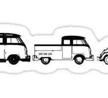 VW Samba, Dual Cab, Beetle - Black print Sticker