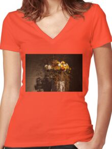 Mother Nature's Autumn Colors - a Still Life Women's Fitted V-Neck T-Shirt