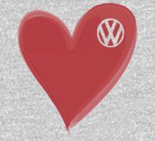 VW Large love heart/VW logo  One Piece - Long Sleeve