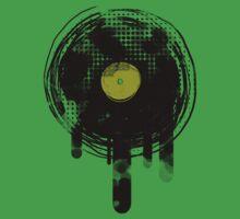 Green Melting Vinyl Records Vintage  One Piece - Short Sleeve