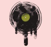 Green Melting Vinyl Records Vintage  One Piece - Long Sleeve