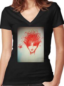 Red Elf Looking at a Butterfly Women's Fitted V-Neck T-Shirt