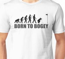 Born To Bogey Funny Golf Evolution Putting Unisex T-Shirt
