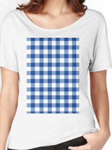 GINGHAM WHITE AND BLUE Women's Relaxed Fit T-Shirt