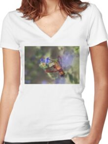 Hummingbird Clearwing Moth Women's Fitted V-Neck T-Shirt