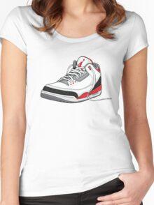 "Air Jordan 3 (III) ""FIRE RED"" Women's Fitted Scoop T-Shirt"