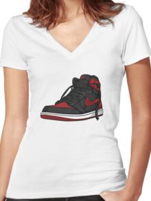"Air Jordan 1 ""BRED"" Women's Fitted V-Neck T-Shirt"