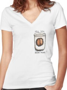Will you Bean Mine? Women's Fitted V-Neck T-Shirt